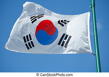 South Korean Flag - The South Korean Flag with Blue Skies