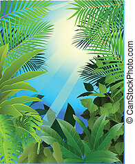 Tropical Forest Background - Vector Illustration Of Tropical...