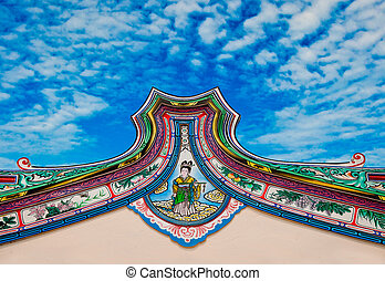 The Beautiful of roof at joss house on blue sky background