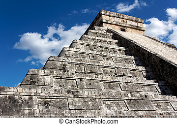 Kukulkan Pyramid Looming above Chichen Itza - Angled view up...
