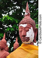 Red buddha statue
