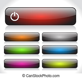 Buttons for web. Vector. - Color long shiny buttons for web....