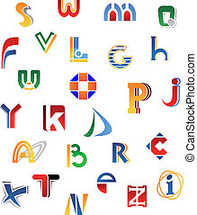 Set of alphabet letters