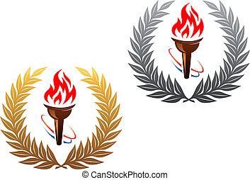 flamejante, tocha, dourado, prata, laurel, grinalda