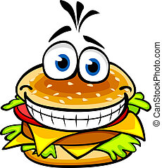 Appetizing hamburger - Appetizing smiling hamburger in...