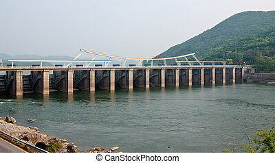 Paldang dam on Han river near Seoul Korean Republic