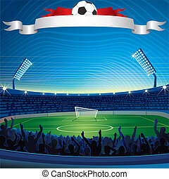 Background with Soccer Stadium. Vector Illustration