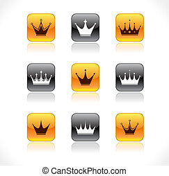 Buttons with crowns. Vector illustration.
