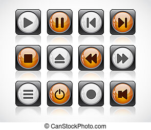 Buttons with media icons. Vector.