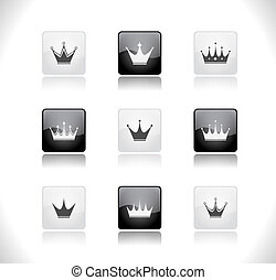 Buttons with crowns. Vector