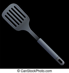 Vector slotted kitchen spoon isolated on a black background