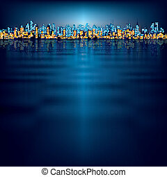abstract background with silhouette of city - abstract night...