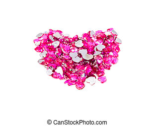Set of round garnet shape of heart on white background