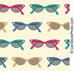 retro sunglasses background - pattern background of 50's...