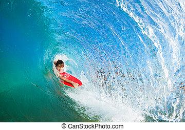corporal, Pensionista, surfando, azul, oceânicos, onda