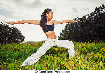 yoga woman outside in nature