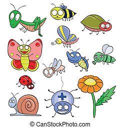 Insects doodle set - Cartoon hand-drawn cute insects set...