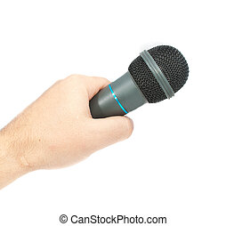Karaoke microphone in hand. Isolated on white background.