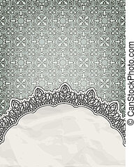 vector lacy frame for your text on seamless retro floral...