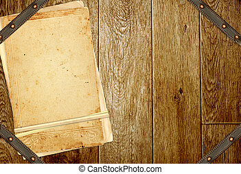 Wooden boards, old cards and leather belt
