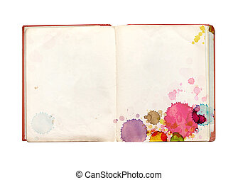 Old book with stains of paint