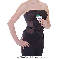 Woman in black holding condom, isolated on white
