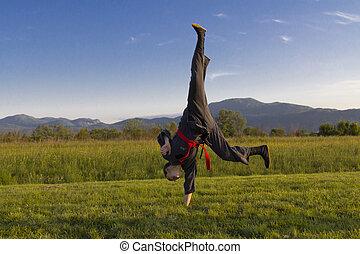 Girl practice martial art outdoor - Girl practice hard...