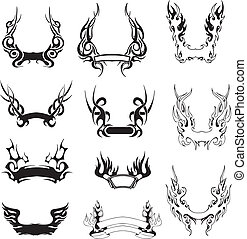 Set of simple tribal wreaths. Black and white vector...