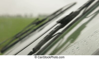 Windshield Wiper In The Rain, Side View, Closeup