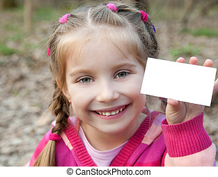 little girl with blank