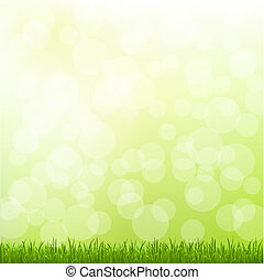 Green Grass And Bokeh And Blur, Vector Illustration