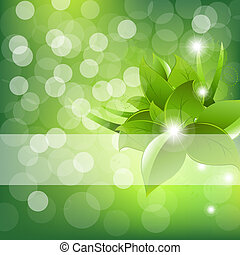 Green Leaves Design With Sun Beams, Vector Illustration