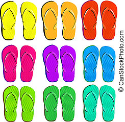 Flip Flops Set - 9 Flip Flops Set, Isolated On White...