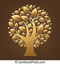 Gold Tree, Isolated On Brown Background, Vector Illustration
