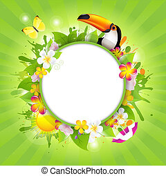 Summer Poster Template With Tucan And Flowers, Vector...