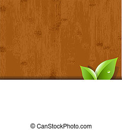 Wood Background With Leaves And Paper