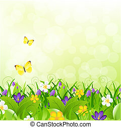 Flowers With Grass With Butterfly And Bokeh, Vector...