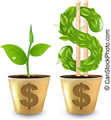 Gold Pot With Dollar And Sprout, Vector Illustration