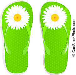 Flip Flops With Camomile, Isolated On White Background,...
