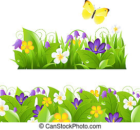 Flowers Borders Set - 2 Flower Borders Set, Isolated On...
