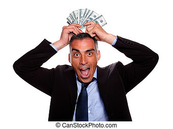 Victorious mature person with cash money - Portrait of a...