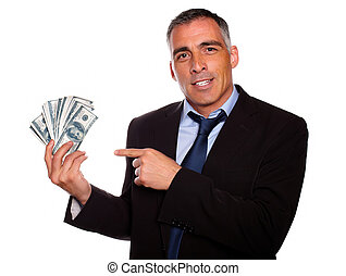 Hispanic senior business man with dollars - Portrait of a...