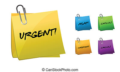 Urgent messages on post-it notes illustration design
