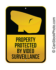 Camera Surveillance sign illustration design over a white...