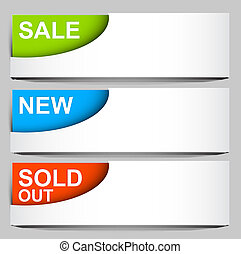 sale, sold, new - vector corner icons