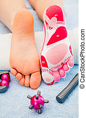massage on the foot - Massage of leg Health and beauty