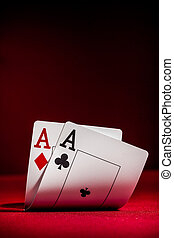 Aces - Pockets Aces with plenty of red background for...