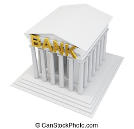 3d bank building with golden sign