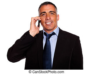 Charismatic businessman speaking on cellphone - Portrait of...