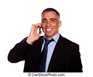 Senior executive man smiling on mobile - Portrait of a...
